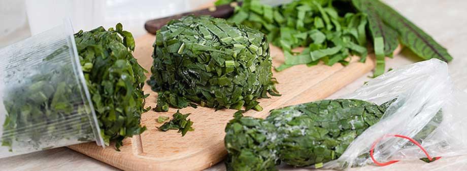 заморозка нарезанной зелени