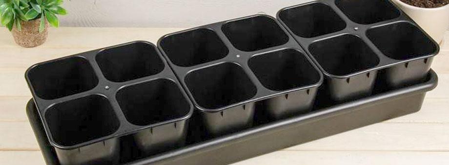 пластиковые горшочки с поддоном для рассады